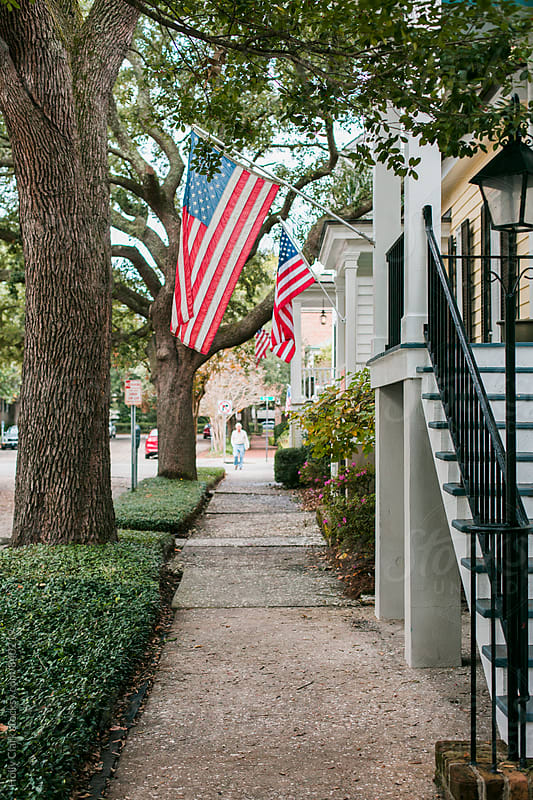 Residential street with American flags by Holly Clark for Stocksy United