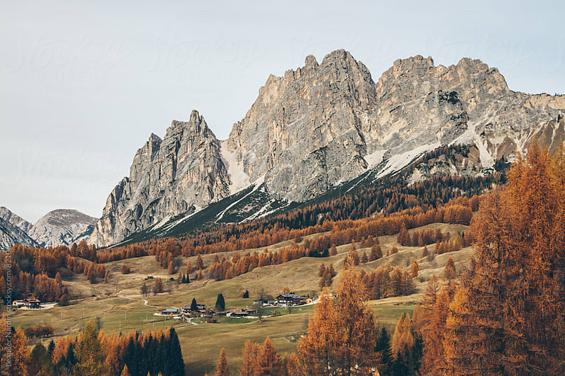 autumnal landscape in the italian alps by Leander Nardin for Stocksy United