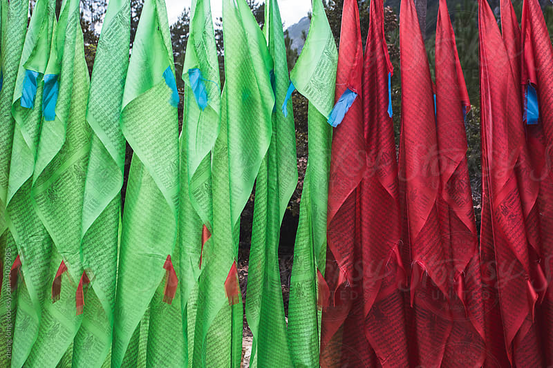 pagoda and prayer flags in the mountain