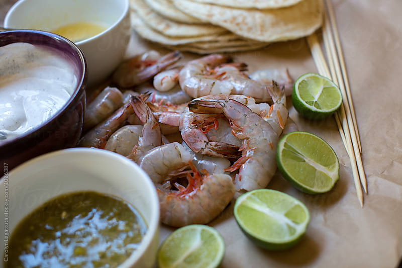 Ingredients for grilled shrimp tacos by Carolyn Lagattuta for Stocksy United