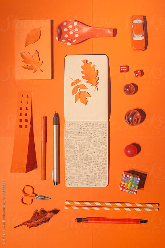 Doodle and orange objects... by Catherine MacBride for Stocksy United