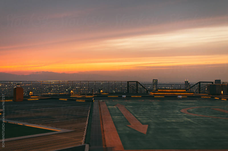 Views of Tokyo from rooftop at sunset. by BONNINSTUDIO for Stocksy United