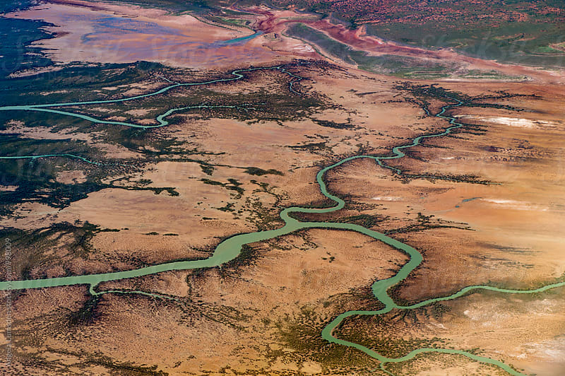 Where the desert meets the ocean - esturary tributaries Western Australia by Angela Lumsden for Stocksy United