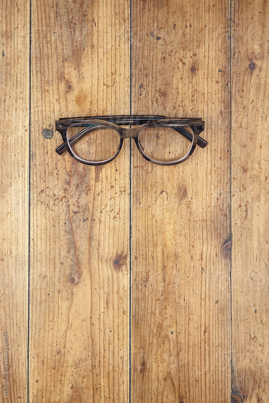 Glasses on Wooden Background by HEX. for Stocksy United