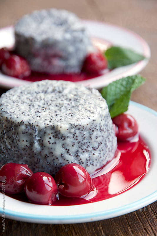 Poppyseed panna cotta by Harald Walker for Stocksy United
