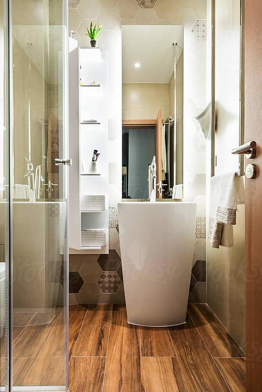Modern bathroom in contemporary interior by Aleksandar Novoselski for Stocksy United