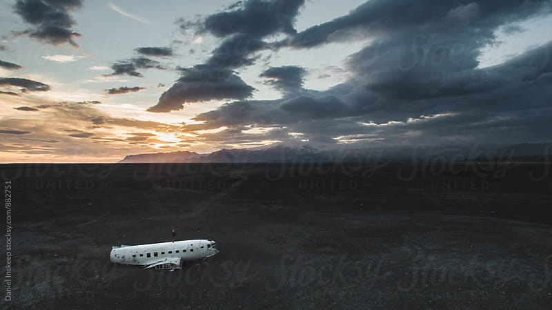 Aerial View at Sunset of Iceland DC-3 Plane Wreck by Daniel Inskeep for Stocksy United