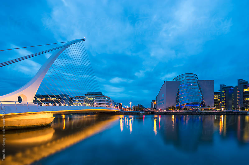 Dublin, Ireland - City Skyline with the River Liffey at the Blue Hour by Tom Uhlenberg for Stocksy United
