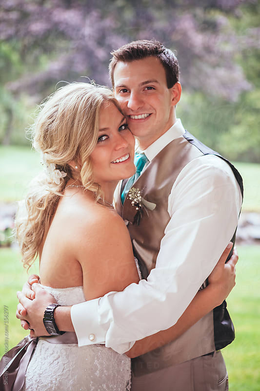 Bride and Groom Portrait on Wedding day by Shelly Perry for Stocksy United