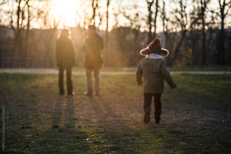 Family in field at sunset by Holly Clark for Stocksy United