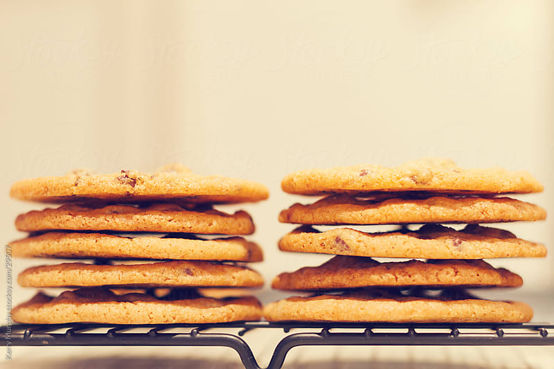 Stack of delicious baked cookies by Kerry Murphy for Stocksy United