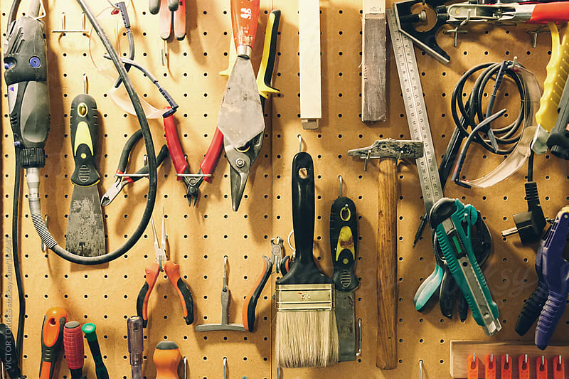 Wall with Many Tools in a Workshop by VICTOR TORRES for Stocksy United
