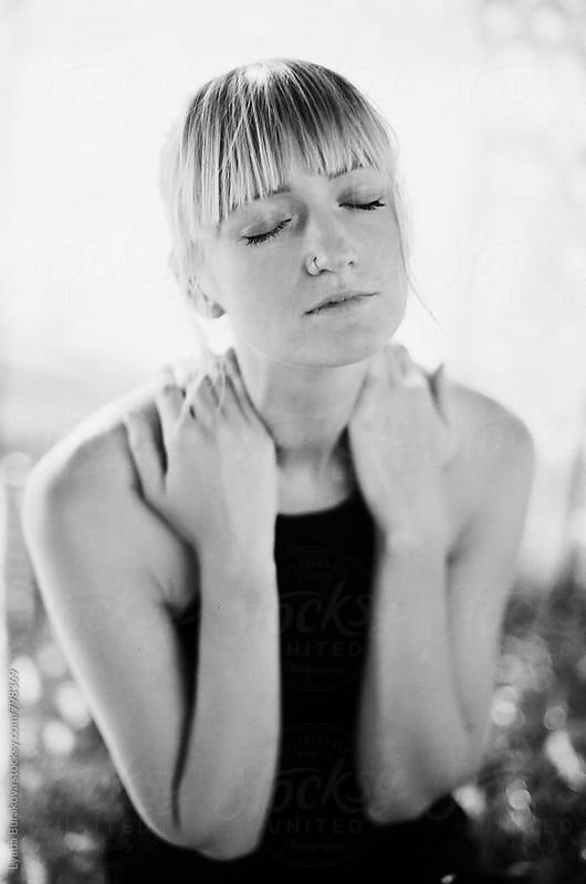 Black and white sensual portrait by Lyuba Burakova for Stocksy United