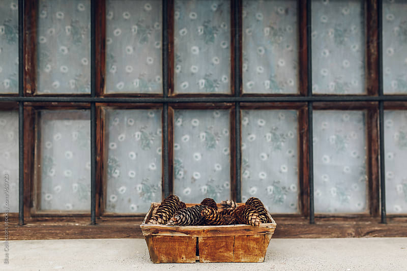 Wicker basket full of pine cones in the window by Blue Collectors for Stocksy United