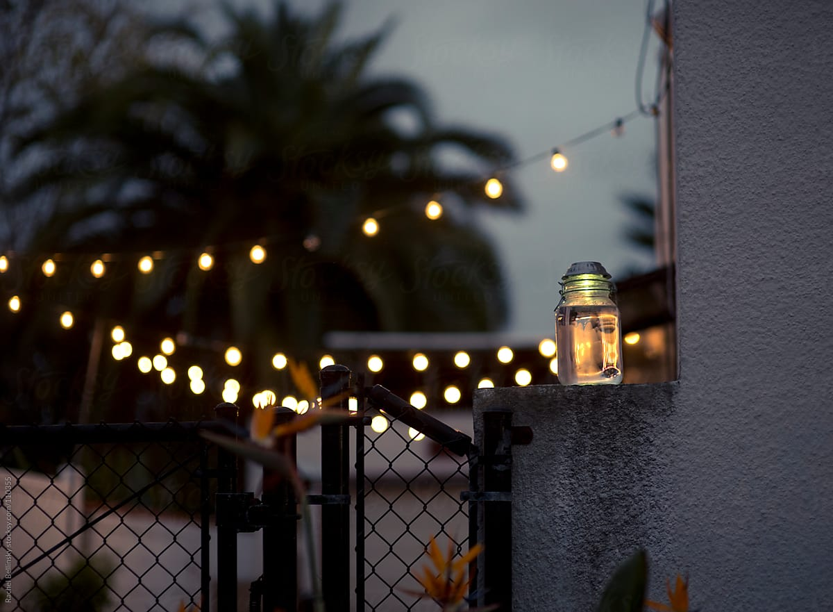 Christmas Lights Draped Over The Patio With Lantern At Dusk ...