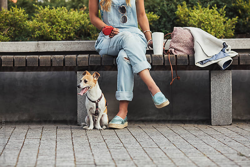 Woman With a Dog Sitting in a Park by Lumina for Stocksy United