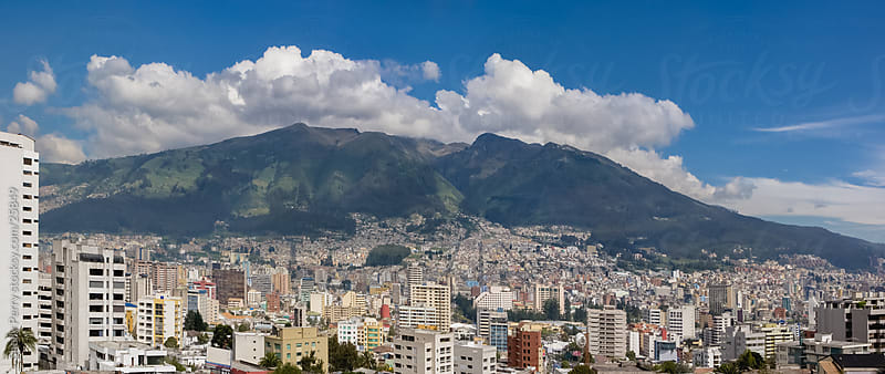 Panorama of Southern Quito, Ecuador and the surrounding mountains by Shelly Perry for Stocksy United