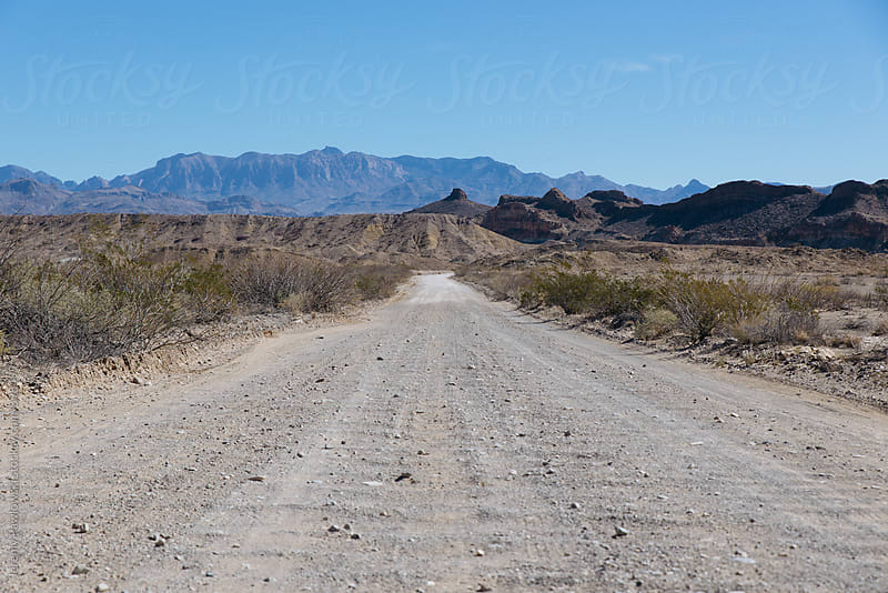 Dirt road through the desert leading to distant mountains in National Park by Jeremy Pawlowski for Stocksy United