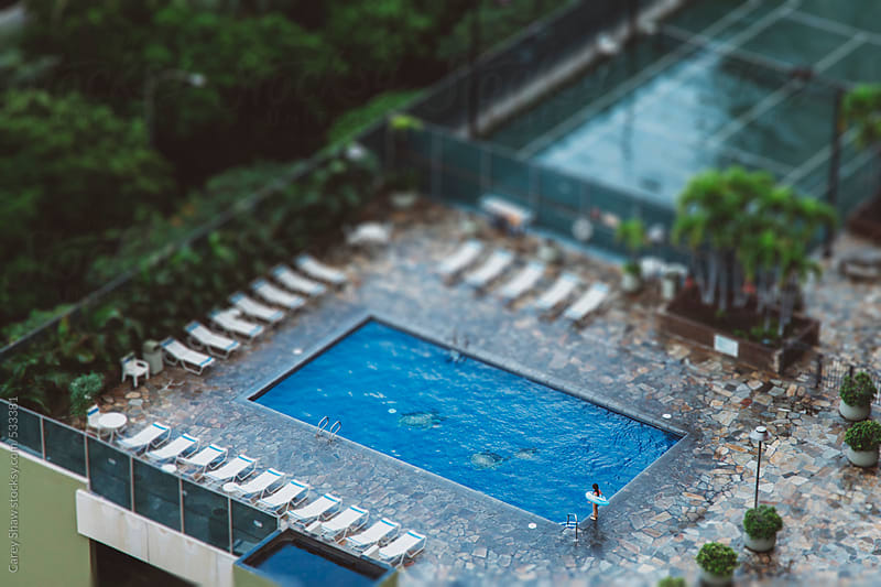 Aerial view of hotel pool by Carey Shaw for Stocksy United