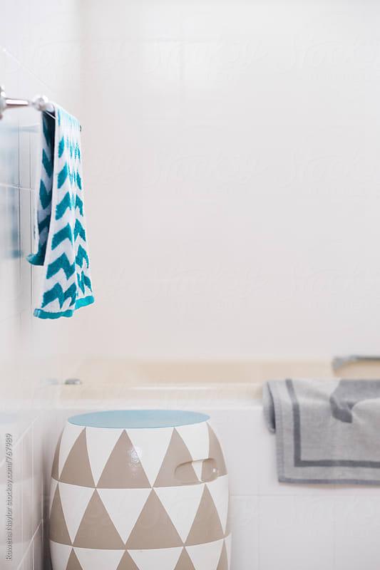 Modern styled bathroom by Rowena Naylor for Stocksy United