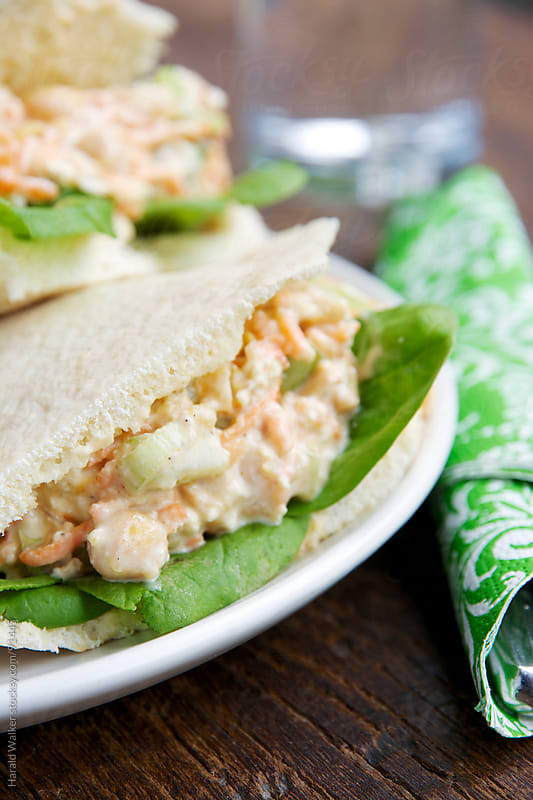 Pita Pockets with Chickpea salad by Harald Walker for Stocksy United
