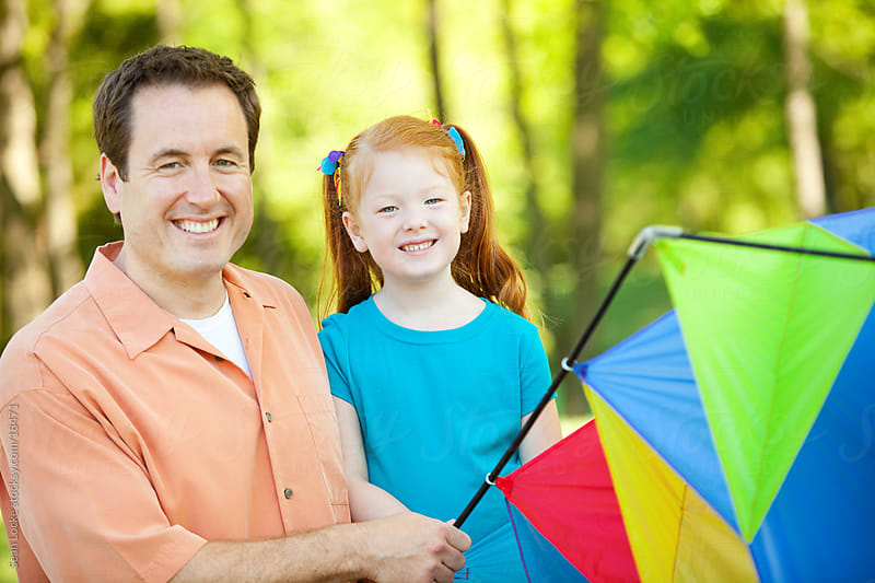 Park: Father Daughter Time in the Park with a Kite by Sean Locke for Stocksy United