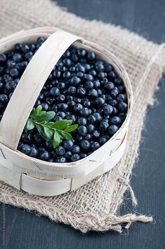 Food: Fresh Organic Blueberries in a Basket by Ina Peters for Stocksy United