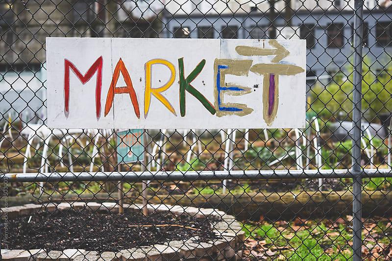 Handmade market sign by Luca Pierro for Stocksy United