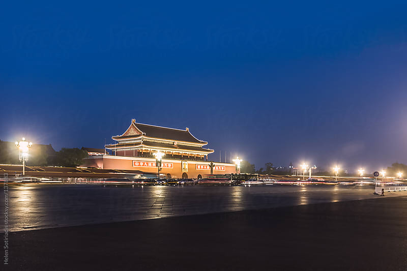 Tian An Men Gate at Night by Helen Sotiriadis for Stocksy United
