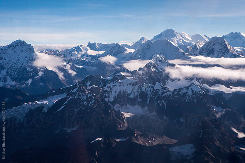 Himalayan ranges seen from a mountain flight in Nepal. by Shikhar Bhattarai for Stocksy United