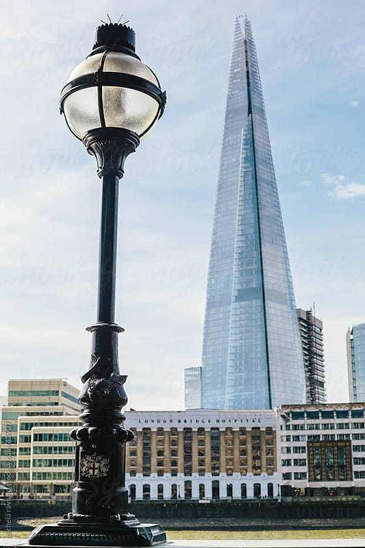 Lamppost with the Shard in the background by michela ravasio for Stocksy United