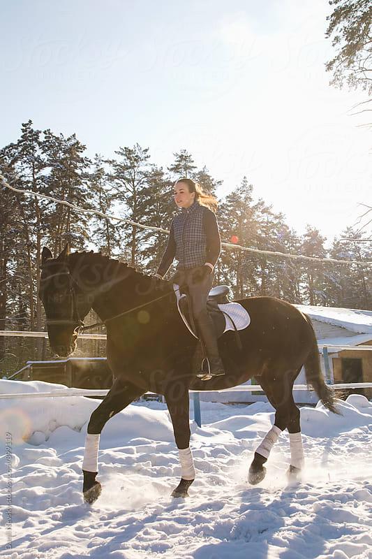 Female jockey on horse  by Danil Nevsky for Stocksy United