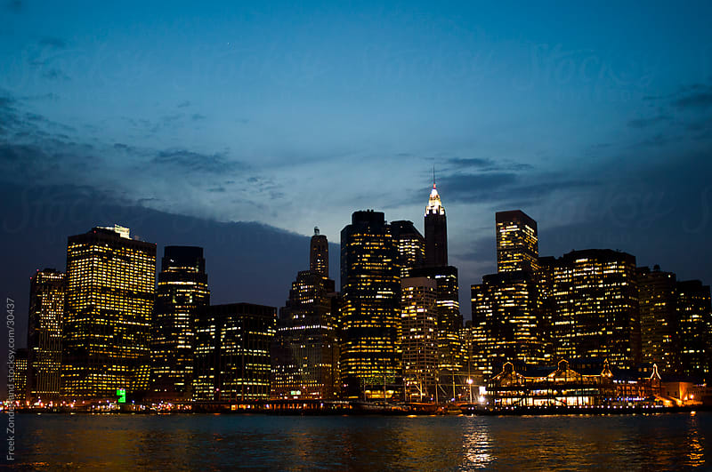 Lower Manhatten during Magic Hour by Freek Zonderland for Stocksy United