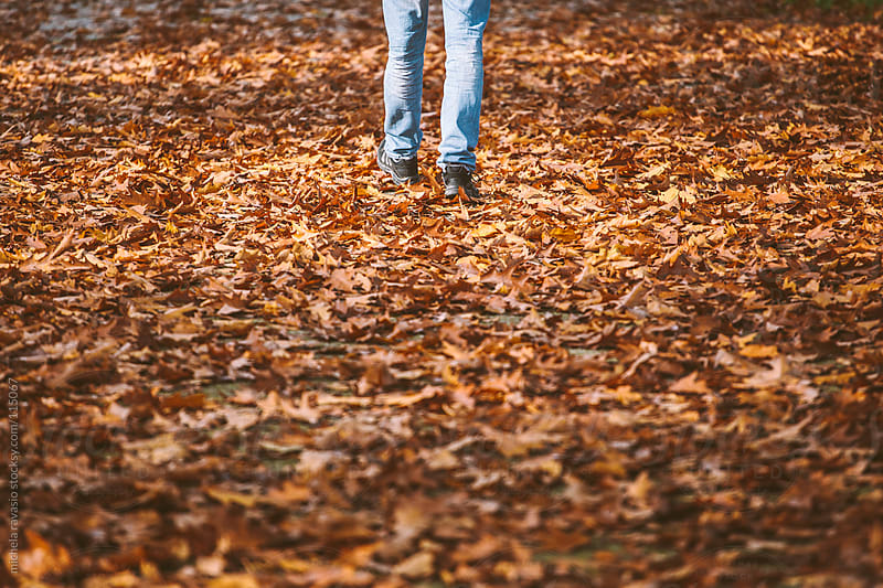 A man walking on a carpet of leaves in autumn. by michela ravasio for Stocksy United