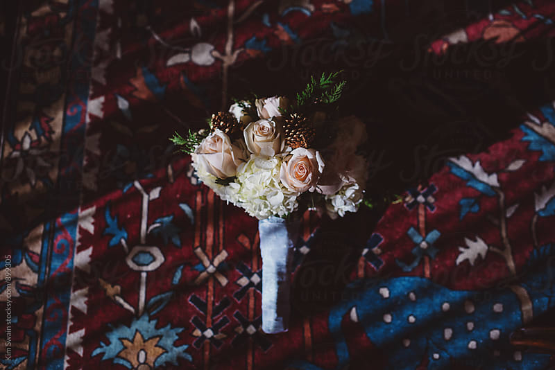 Bridal Bouquet on Oriental Rug