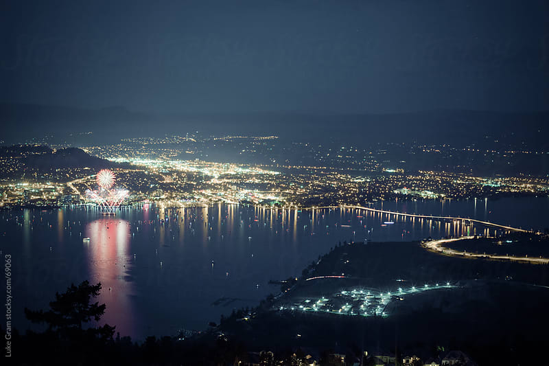 Kelowna Fireworks by Luke Gram for Stocksy United