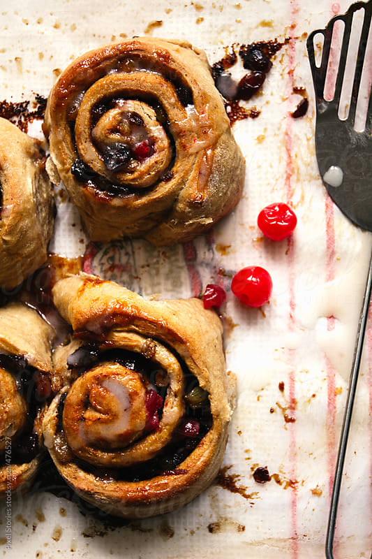 Food: Christmas cinnamon rolls by Pixel Stories for Stocksy United