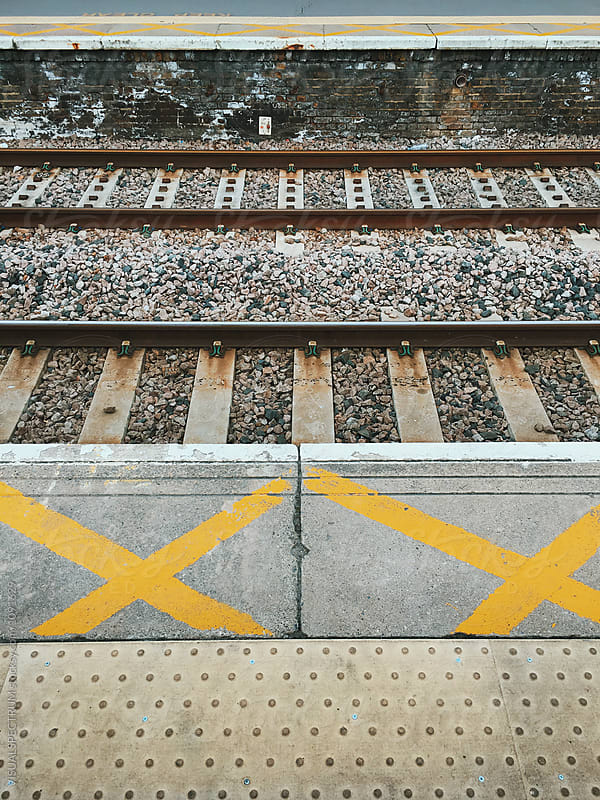 Detail of Rails in London Overground Station by Julien L. Balmer for Stocksy United