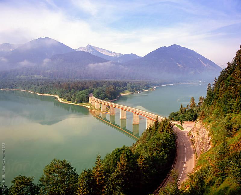Road bridge over lake Sylvenstein, mid-summer, Bavaria, Germany by Gavin Hellier for Stocksy United