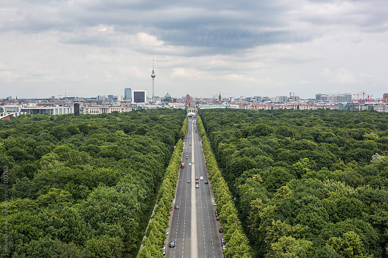 Berlin road with skyline  by michela ravasio for Stocksy United