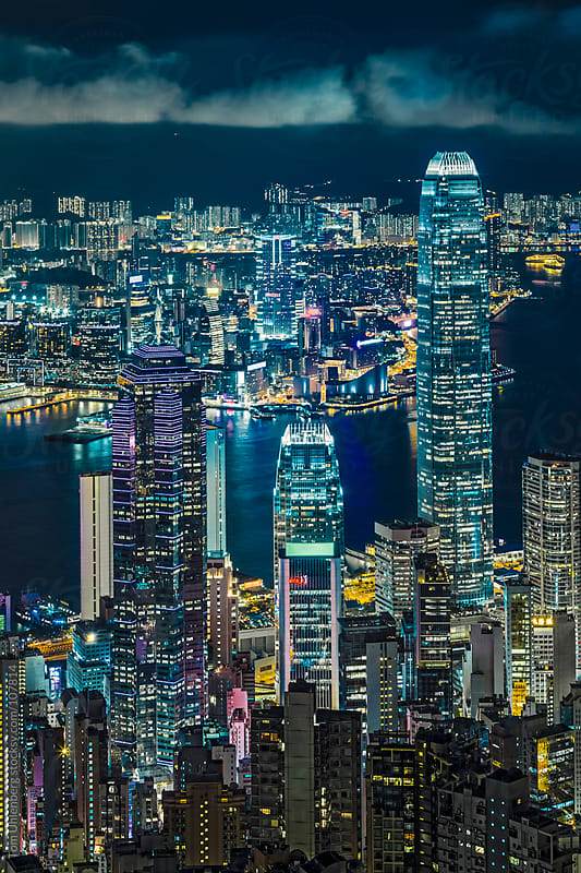 Night View from Victoria Peak in Hong Kong  by Tom Uhlenberg for Stocksy United