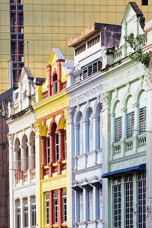 Asia, Malaysia, Selangor State, Kuala Lumpur, colourful buildings in the central Colonial district of KL near Merdeka Square by Gavin Hellier for Stocksy United
