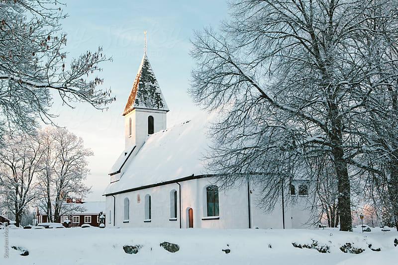 White Church in Sweden Winter by Stephen Morris for Stocksy United