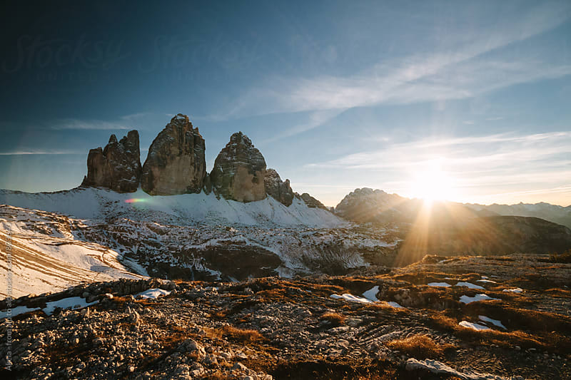 sunset at the famous three pinnacles in the italian dolomites by Leander Nardin for Stocksy United