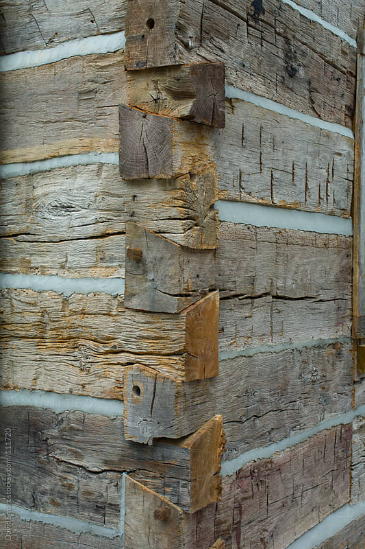 Detail of a dovetail corner of a log cabin by David Smart for Stocksy United