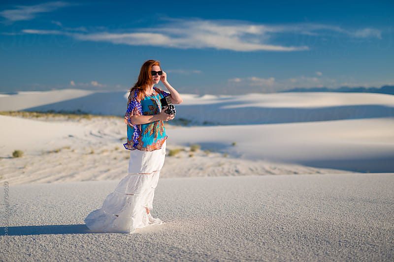 Female Photographer at White Sands National Monument New Mexico With Vintage TLR Film Camera by JP Danko for Stocksy United