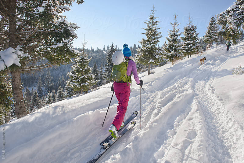 Woman ski touring outdoor by RG&B Images for Stocksy United