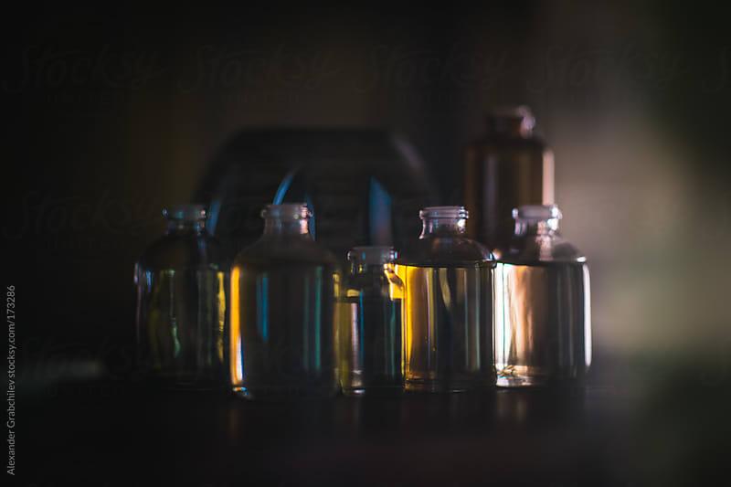 Massage oil bottles at spa by Alexander Grabchilev for Stocksy United