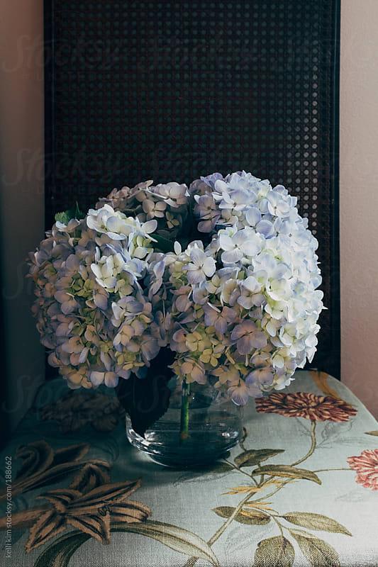 Bouquet of Blue Hydrangeas On Chair by kelli kim for Stocksy United