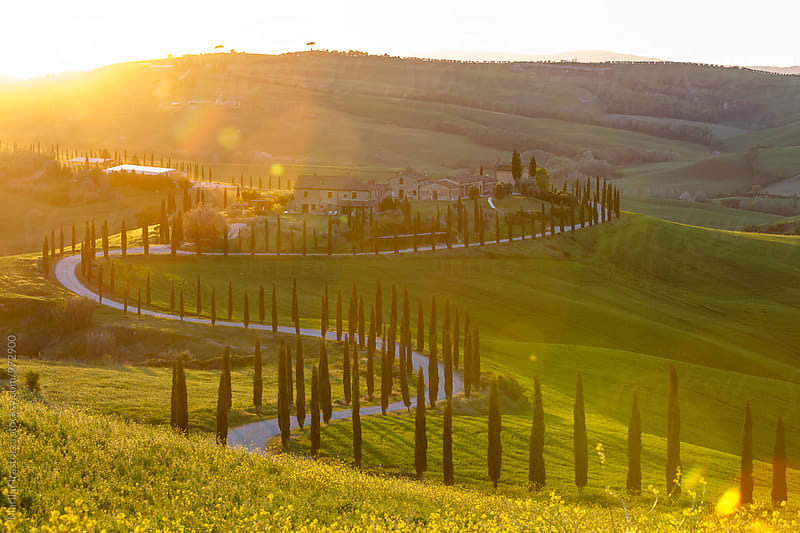 Farmhouse in Tuscany at sunset by Marilar Irastorza for Stocksy United